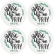 "4"" Round Ceramic Coasters - Rise Up And Pray, 4/Box, 2/Case, 8 Pieces"