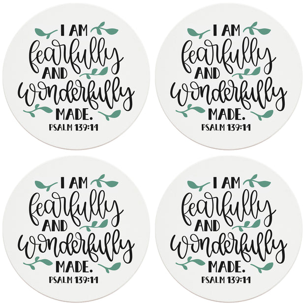 "4"" Round Ceramic Coasters - Fearfully And Wonderfully Made, 4/Box, 2/Case, 8 Pieces - Christmas by Krebs Wholesale"