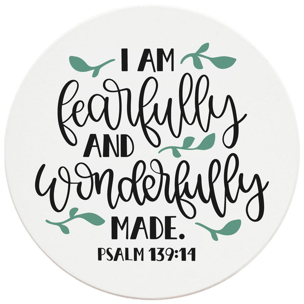 "4"" Round Ceramic Coasters - Fearfully And Wonderfully Made, 4/Box, 2/Case, 8 Pieces"