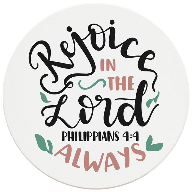 "4"" Round Ceramic Coasters - Rejoice In The Lord Always, 4/Box, 2/Case, 8 Pieces"