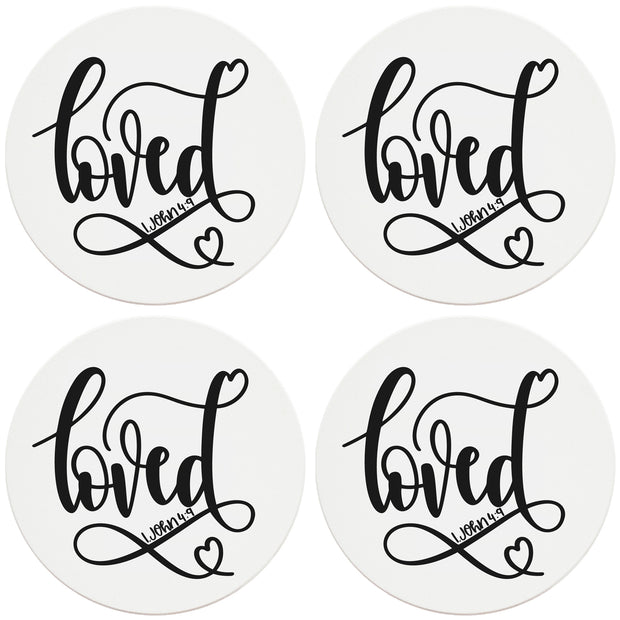 "4"" Round Ceramic Coasters - Loved, 4/Box, 2/Case, 8 Pieces"