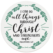"4"" Round Ceramic Coasters - I Can Do All Things Through Christ, 4/Box, 2/Case, 8 Pieces - Christmas by Krebs Wholesale"