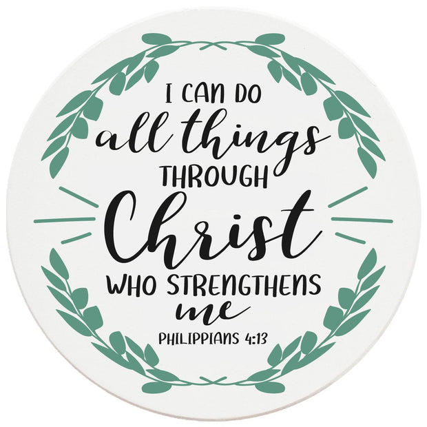 "4"" Round Ceramic Coasters - I Can Do All Things Through Christ, 4/Box, 2/Case, 8 Pieces"