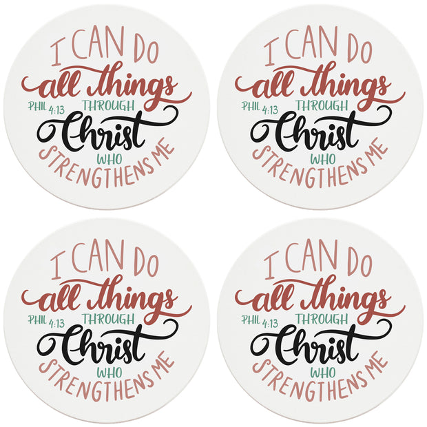 "4"" Round Ceramic Coasters - All Things Through Christ, 4/Box, 2/Case, 8 Pieces"