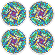 "4"" Round Ceramic Coasters - Mandala Bird, 4/Box, 2/Case, 8 Pieces"
