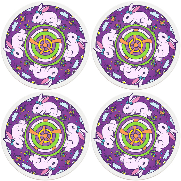 "4"" Round Ceramic Coasters - Mandala Bunny, 4/Box, 2/Case, 8 Pieces"
