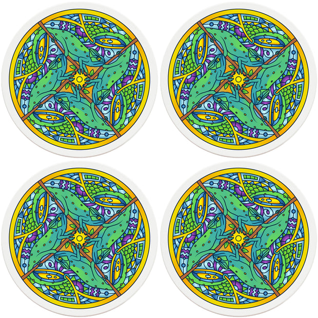 "4"" Round Ceramic Coasters - Mandala Chameleon, 4/Box, 2/Case, 8 Pieces"