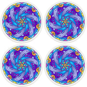 "4"" Round Ceramic Coasters - Mandala Dolphin, 4/Box, 2/Case, 8 Pieces"