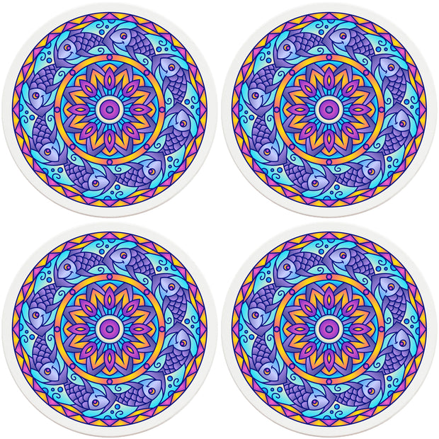 "4"" Round Ceramic Coasters - Mandala Fish, 4/Box, 2/Case, 8 Pieces"