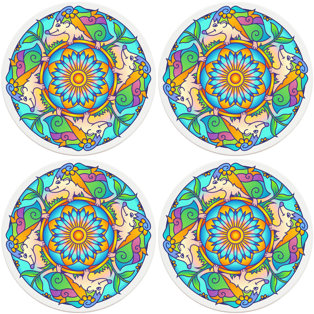 "4"" Round Ceramic Coasters - Mandala Hedgehog, 4/Box, 2/Case, 8 Pieces"