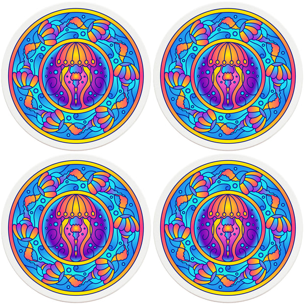 "4"" Round Ceramic Coasters - Mandala Jellyfish, 4/Box, 2/Case, 8 Pieces"