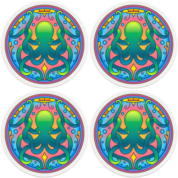 "4"" Round Ceramic Coasters - Mandala Octopus, 4/Box, 2/Case, 8 Pieces"