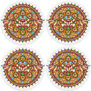 "4"" Round Ceramic Coasters - Mandala Owl, 4/Box, 2/Case, 8 Pieces"