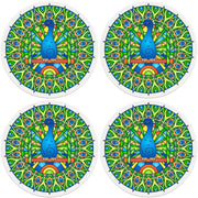 "4"" Round Ceramic Coasters - Mandala Peacock, 4/Box, 2/Case, 8 Pieces"