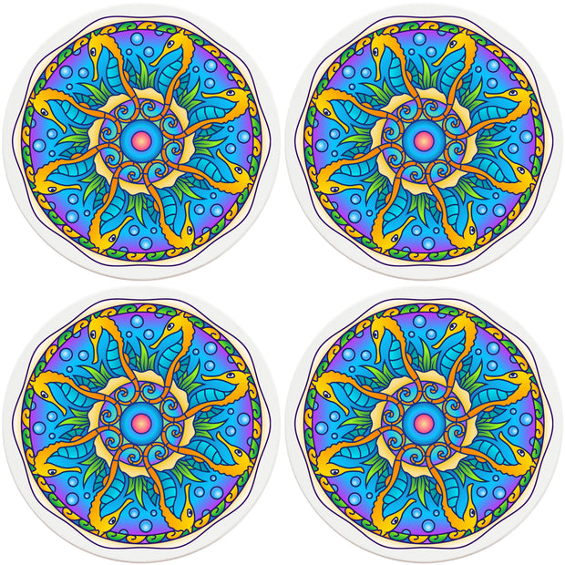 "4"" Round Ceramic Coasters - Mandala Seahorse, 4/Box, 2/Case, 8 Pieces"