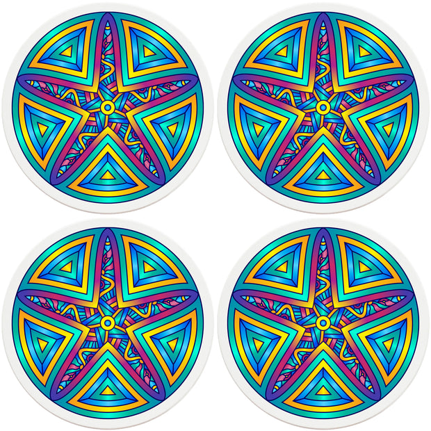 "4"" Round Ceramic Coasters - Mandala Starfish, 4/Box, 2/Case, 8 Pieces"