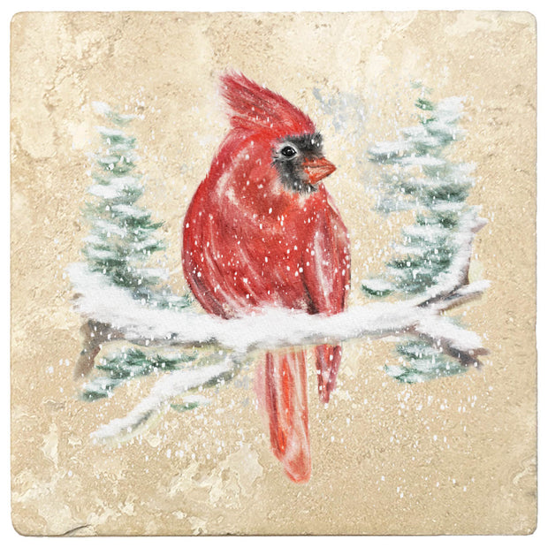 "4"" Christmas Holiday Travertine Coasters - Red Cardinal, 2 Sets of 4, 8 Pieces - Christmas by Krebs Wholesale"