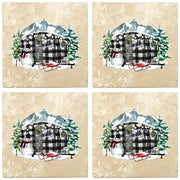 "4"" Christmas Holiday Travertine Coasters - Plaid Camper, 2 Sets of 4, 8 Pieces - Christmas by Krebs Wholesale"