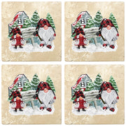 "4"" Christmas Holiday Travertine Coasters - Gnomes Winter Scene, 2 Sets of 4, 8 Pieces - Christmas by Krebs Wholesale"