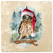 "4"" Christmas Holiday Travertine Coasters - Owl with Santa Hat, 2 Sets of 4, 8 Pieces"