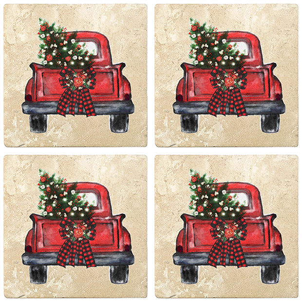 "4"" Christmas Holiday Travertine Coasters - Back of Red Truck with Wreath and Christmas Tree, 2 Sets of 4, 8 Pieces - Christmas by Krebs Wholesale"