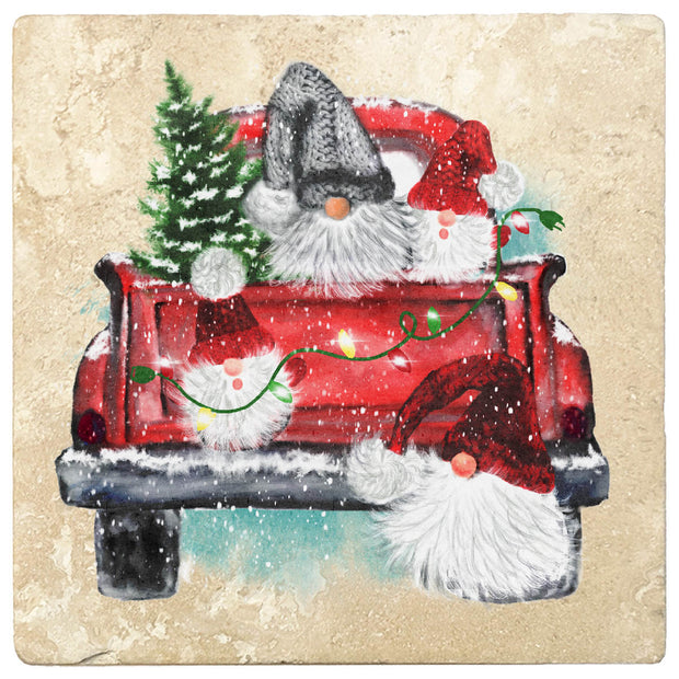 "4"" Christmas Holiday Travertine Coasters - Back of Red Truck with Gnomes, 2 Sets of 4, 8 Pieces - Christmas by Krebs Wholesale"