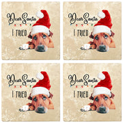 "4"" Christmas Holiday Travertine Coasters - Dear Santa, 2 Sets of 4, 8 Pieces - Christmas by Krebs Wholesale"