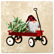 "4"" Christmas Holiday Travertine Coasters - Gnome in Handcart, 2 Sets of 4, 8 Pieces - Christmas by Krebs Wholesale"