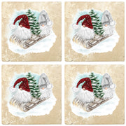 "4"" Christmas Holiday Travertine Coasters - Two Gnomes and Tree on Sled, 2 Sets of 4, 8 Pieces - Christmas by Krebs Wholesale"