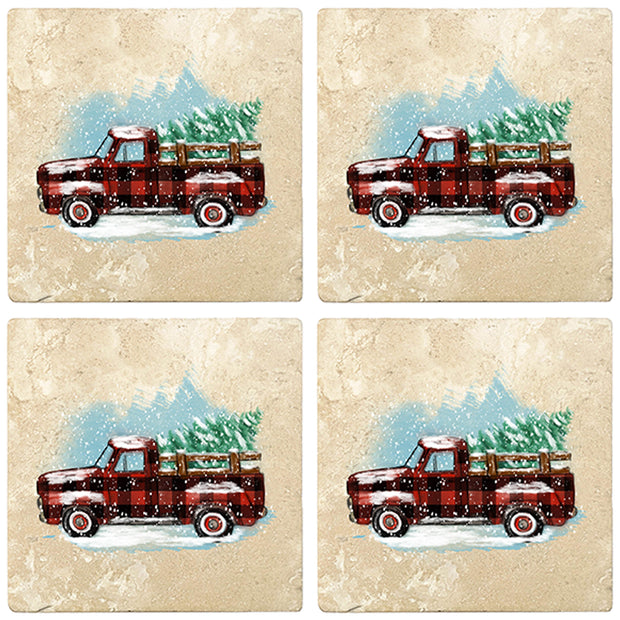 "4"" Christmas Holiday Travertine Coasters - Vintage Red Truck - Plaid, 2 Sets of 4, 8 Pieces - Christmas by Krebs Wholesale"