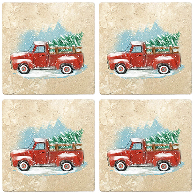 "4"" Christmas Holiday Travertine Coasters - Vintage Red Truck, 2 Sets of 4, 8 Pieces"