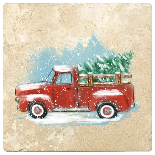 "4"" Christmas Holiday Travertine Coasters - Vintage Red Truck, 2 Sets of 4, 8 Pieces - Christmas by Krebs Wholesale"