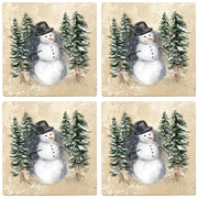 "4"" Christmas Holiday Travertine Coasters - Snowman in Woods, 2 Sets of 4, 8 Pieces - Christmas by Krebs Wholesale"