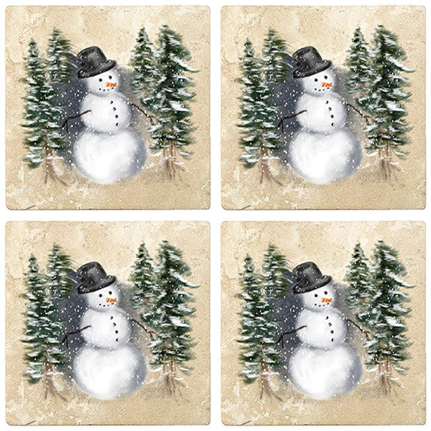 "4"" Christmas Holiday Travertine Coasters - Snowman in Woods, 2 Sets of 4, 8 Pieces"