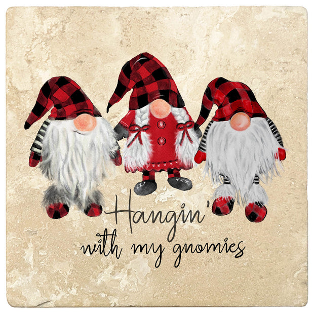 "4"" Christmas Holiday Travertine Coasters - Three Gnomes - Hanging with the Gnomies, 2 Sets of 4, 8 Pieces - Christmas by Krebs Wholesale"