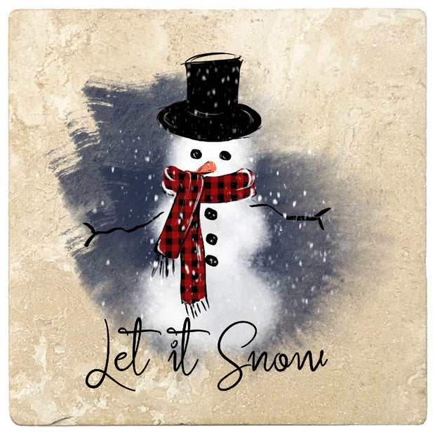 "4"" Christmas Holiday Travertine Coasters - Snowman - Let it Snow, 2 Sets of 4, 8 Pieces"