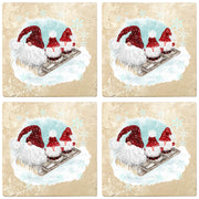 "4"" Christmas Holiday Travertine Coasters - Three Gnomes on Sled, 2 Sets of 4, 8 Pieces - Christmas by Krebs Wholesale"