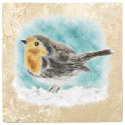 "4"" Christmas Holiday Travertine Coasters - Watercolor Bird, 2 Sets of 4, 8 Pieces - Christmas by Krebs Wholesale"