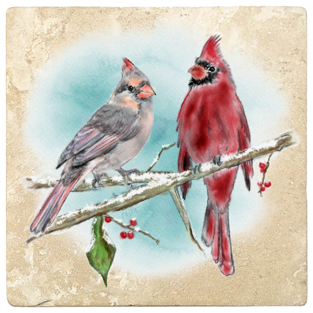 "4"" Christmas Holiday Travertine Coasters - Two cardinals, 2 Sets of 4, 8 Pieces - Christmas by Krebs Wholesale"