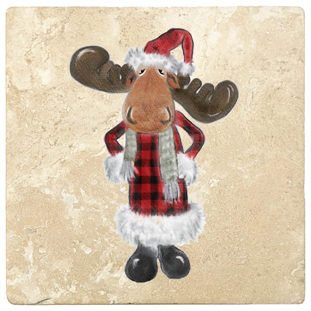 "4"" Christmas Holiday Travertine Coasters - Moose in Santa Costume, 2 Sets of 4, 8 Pieces - Christmas by Krebs Wholesale"