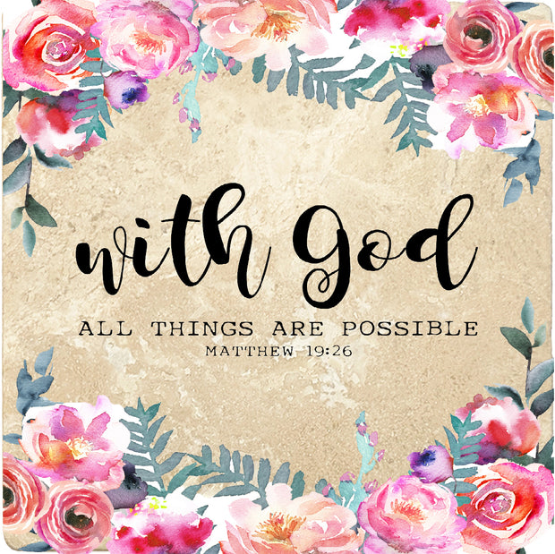 4 inch Square Travertine Religious Gift Coasters With God All Things Are Possible, 2 Sets of 4, 8 Pieces - Christmas by Krebs Wholesale