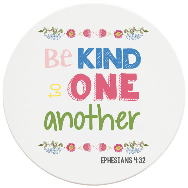 4 inch Round Religious Ceramic Coasters Be Kind To One Another, 2 Sets of 4, 8 Pieces - Christmas by Krebs Wholesale