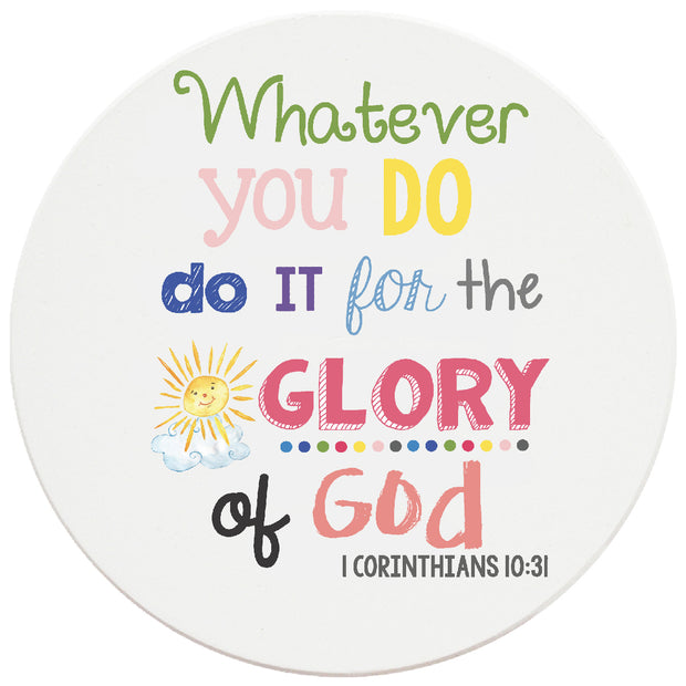 4 inch Round Religious Ceramic Coasters Whatever You Do, Do It For The Glory Of God, 2 Sets of 4, 8 Pieces - Christmas by Krebs Wholesale
