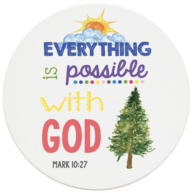 4 inch Round Religious Ceramic Coasters Everything Is Possible With God, 2 Sets of 4, 8 Pieces - Christmas by Krebs Wholesale