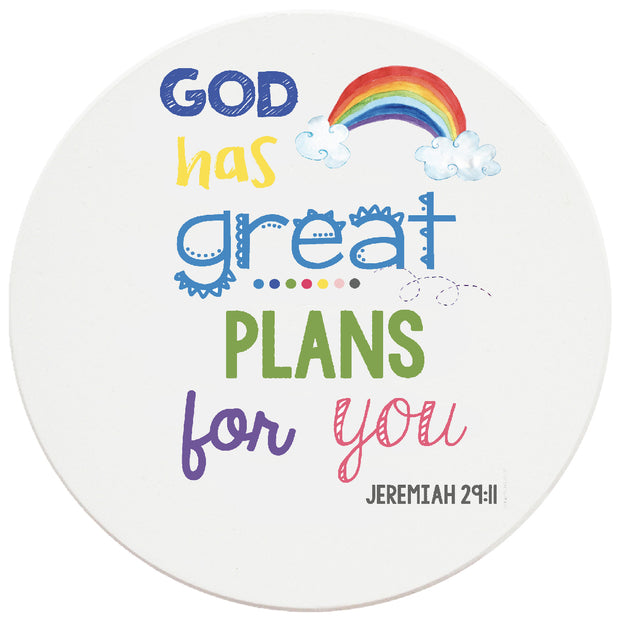 4 inch Round Religious Ceramic Coasters God Has Great Plans For You, 2 Sets of 4, 8 Pieces - Christmas by Krebs Wholesale