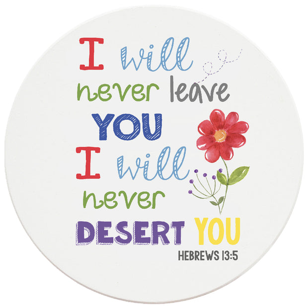 4 inch Round Religious Ceramic Coasters I Will Never Leave You, 2 Sets of 4, 8 Pieces - Christmas by Krebs Wholesale
