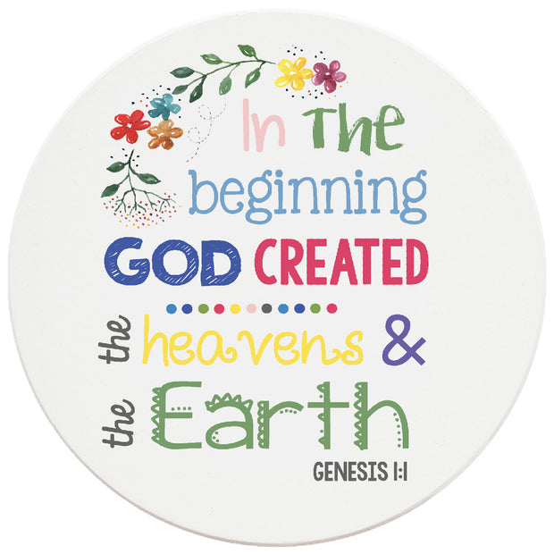 4 inch Round Religious Ceramic Coasters In The Beginning God Created, 2 Sets of 4, 8 Pieces - Christmas by Krebs Wholesale