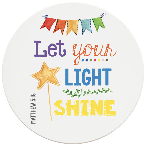 4 inch Round Religious Ceramic Coasters Let Your Light Shine, 2 Sets of 4, 8 Pieces - Christmas by Krebs Wholesale