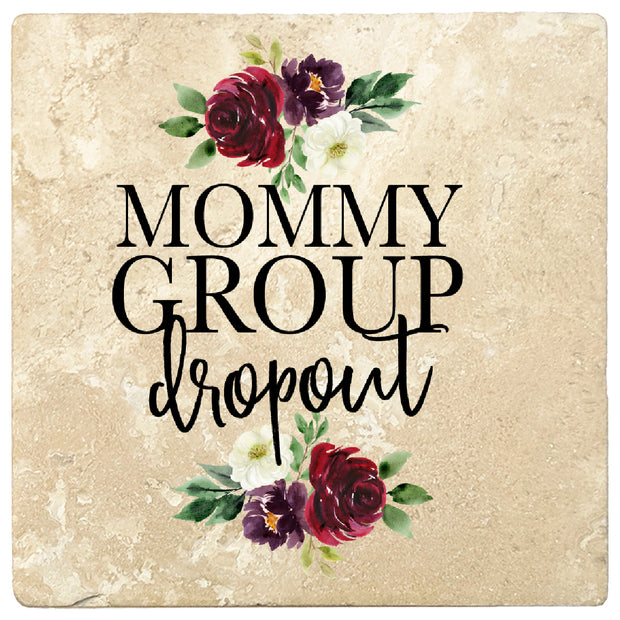 4 inch Square Travertine Gift for Moms Coasters Mommy Group Dropout, 2 Sets of 4, 8 Pieces - Christmas by Krebs Wholesale