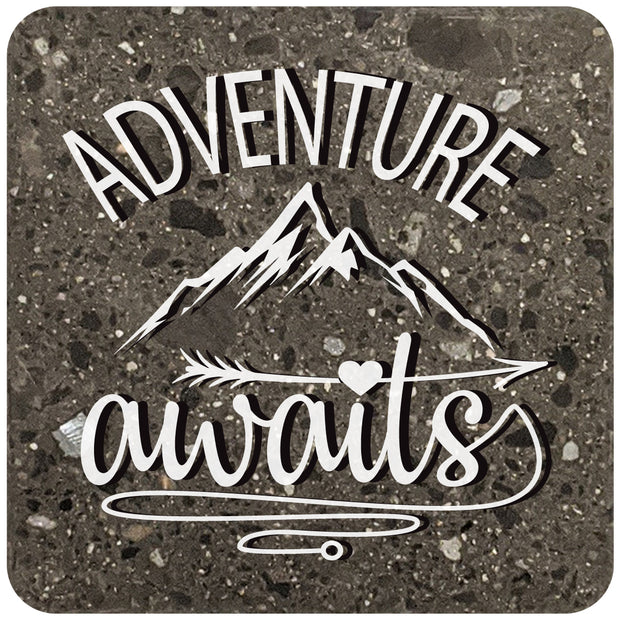 "4"" Square Black Stone Coaster - Adventure Awaits, 2 Sets of 4, 8 Pieces - Christmas by Krebs Wholesale"